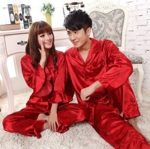 Men Women Lovers Silk Pajamas Sets 2019 Spring Summer Design Elegant Pajamas Sleepwear Wedding Red Clothing