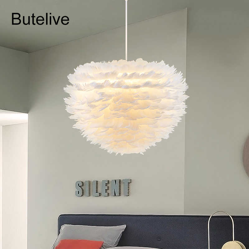 Modern Pendant Lights Feather Lamp Bedroom Hanging Lamp Feather Hanglamp Living Room Luminaria Lamparas De Techo Colgante Modern
