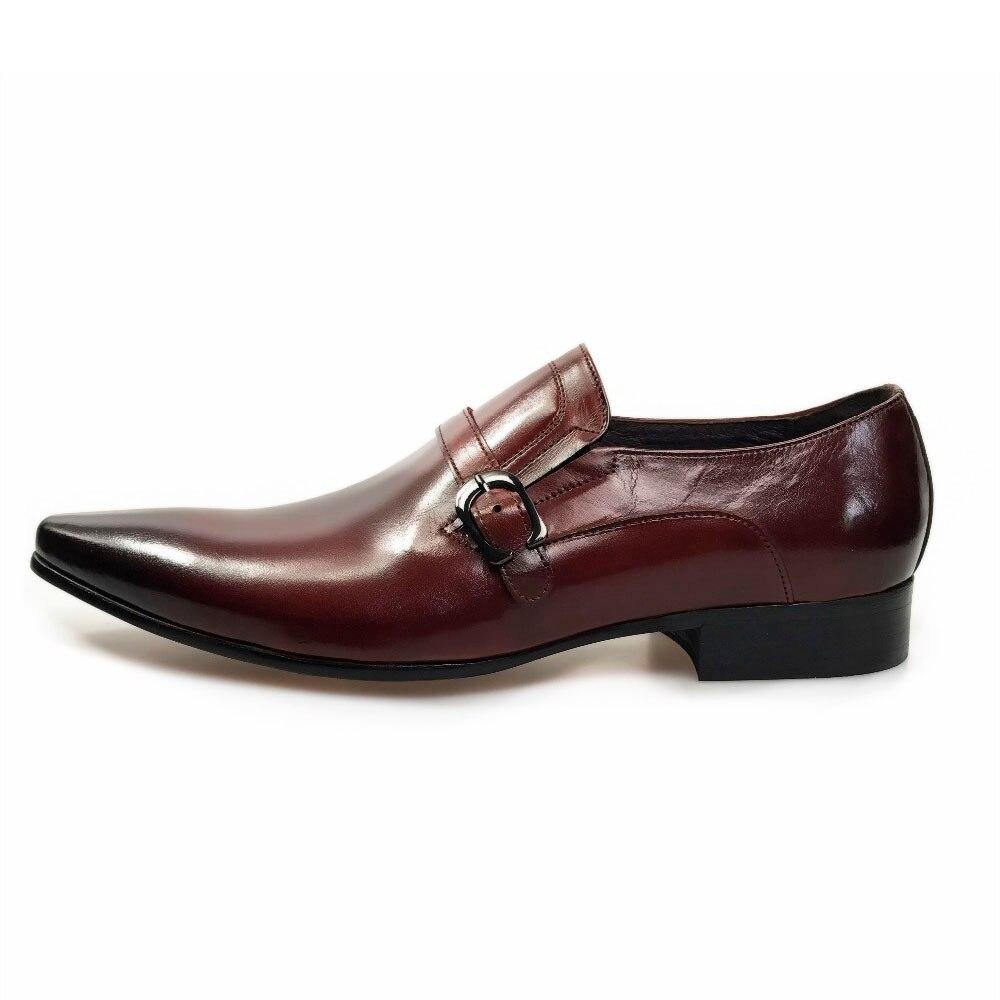 Apontado Deslizamento Baixo Calçado 2 Dedo Clássico De Genuínos Partido Negócios 1 Do Sapatos Salto Couro Pé Formais Masculinos Vestir Sobre Bloco Moda Homens qp6wzRwU