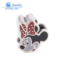Mouse Smalto 925 Sterling Silver Charms Gioielli Fai Da Te Perline Fit Braccialetto di Ancoraggio Monili di Modo D030H10 GW