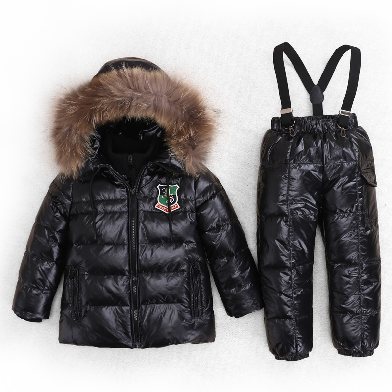 Mioigee 2017 Children Winter Suits Boys Girl Duck Down Jacket + Bib Pants 2 pcs Clothing Set Thermal Kids Snow Sport suit 3-6T