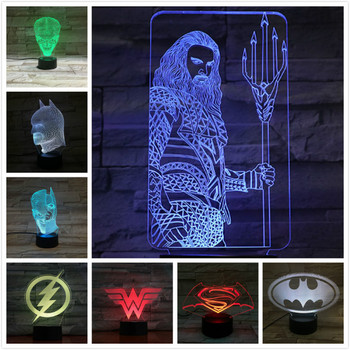 цена Usb 3d Led Night Light Superhero batman superman the flash Wonder Woman Aquaman two face Joker Table Lamp Dc Justice League онлайн в 2017 году