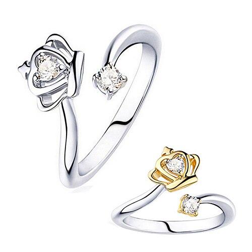 25bbc314e101 2016 nuevas mujeres princesa Queen estilo corona ZIRCON anillo abierto  noble joyería regalo C6TY