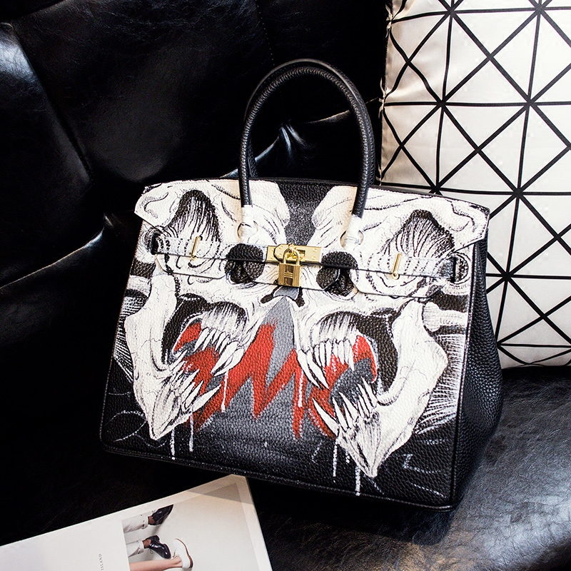 Halloween Original Design Handpainted Graffiti Female Bag Contrast Color Women Handbag White Skulls 35CM Large Bag Gold Hardware