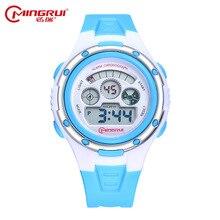 2017 nueva moda casual estudiante MingRui reloj resistente al agua alarma cronógrafo reloj correa de silicona chico chica relojes