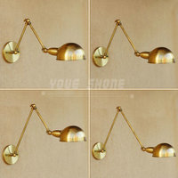 Adjustable Antique brass folding RH long arm wall lamp for Living Room, Study, Beding Room