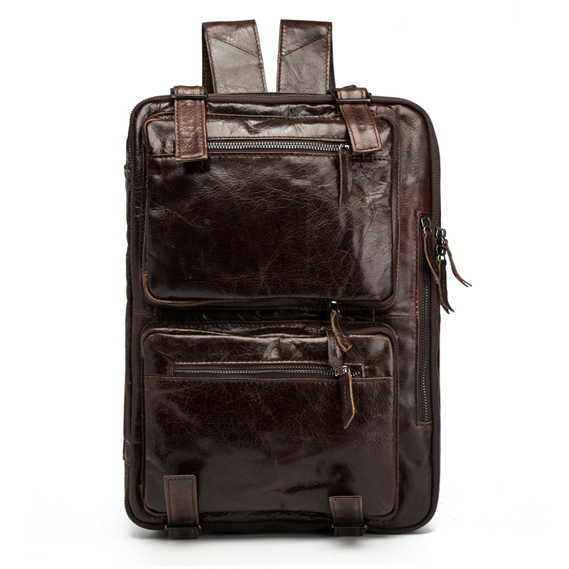 Man Woman Backpack Genuine Leather High Capacity Travel Two Way Use CrossBody Shoulder Business Fashion Oil Wax Messenger BolosaMan Woman Backpack Genuine Leather High Capacity Travel Two Way Use CrossBody Shoulder Business Fashion Oil Wax Messenger Bolosa