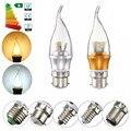 3 W 6 W CONDUZIU a Luz de Lâmpada E12 E14 E27 B15 B22 2835 SMD Lustre Lâmpada Led Chama Vela Pure Warm White Iluminação Não Regulável 85-265 V