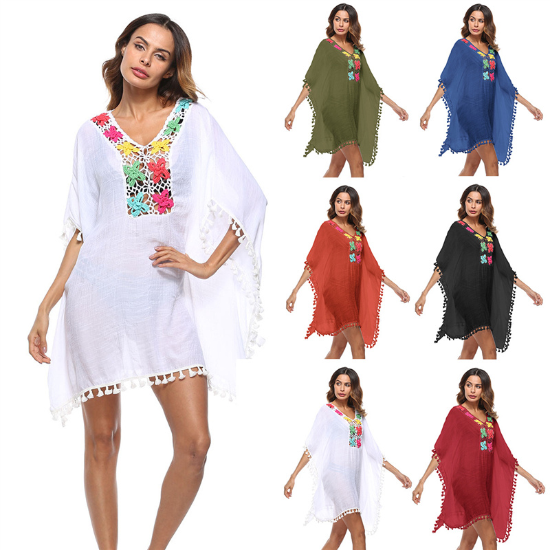 6fc33658f22 Detail Feedback Questions about Beach Pareo Sarong Beachwear Summer Women  Tunic White Cotton Batwing Sleeve Sexy Hollow Out Tassel Mini Dress Beach  Cover Up ...