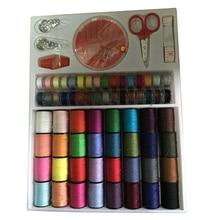 64 катушки разных цветов швейные нитки иглы ножницы набор инструментов для шитья комплект