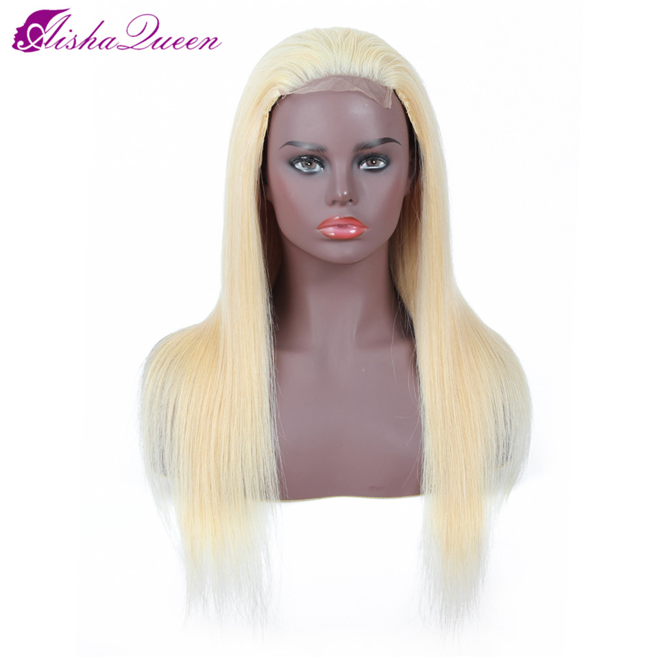 Aisha Queen Lace Front Human Hair Wigs 613 Blonde Brazilian Non Remy Straight Hair Wig By