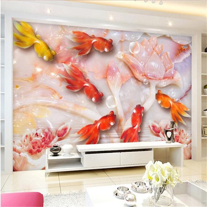 Beibehang peintures murales jade poisson rouge lotus perspective ...
