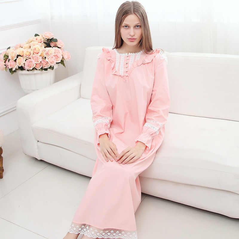 19c70abc52 ... Hot Womens Pink Vintage Nightdress Long Sleeve Female Sleepwear  Princess Home Sleeping Dress Cotton Nightgowns For