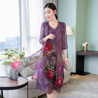 Asian Size 2019 new autumn printed lace gown + sleeveless tank dress 2 pcs suits Faux silk chinese style plus size VKDR1297