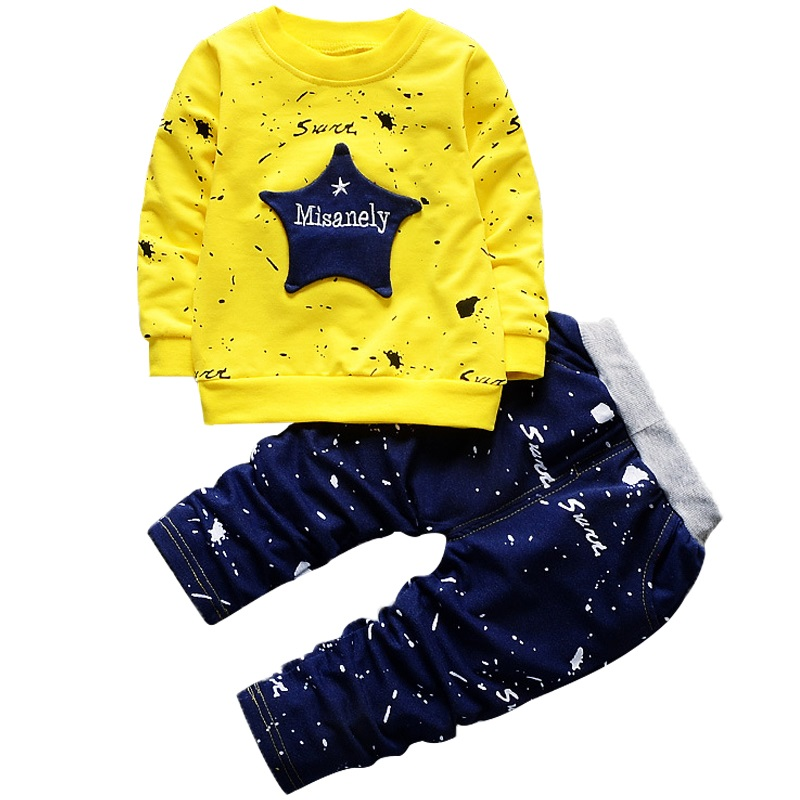 New Boys Clothing Sets Spring Autumn Baby Kids Sets Cotton Star Boy Tracksuits Kids Suits Long Sleeve T Shirt+Pants Free shipp 3pcs baby boy clothing suits solid white shirt vest striped pants casual children party costumes kids spring autumn sets 088f