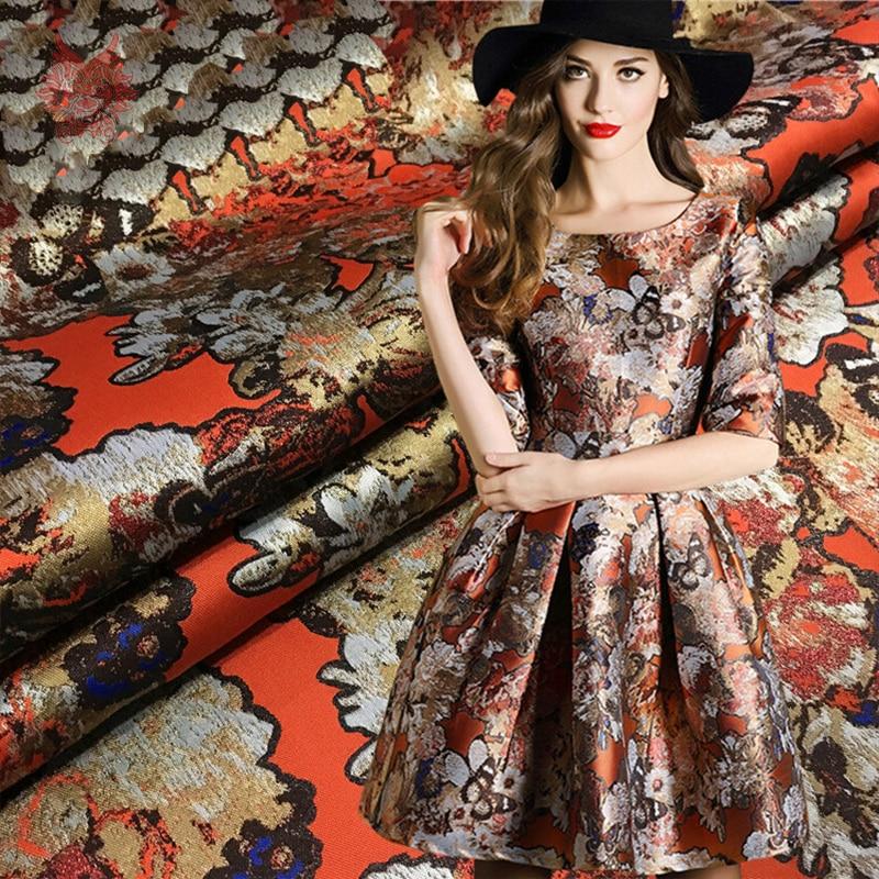 Designer American style luxury orange brown floral jacquard brocade fabric for dress coat tela tejido cloth