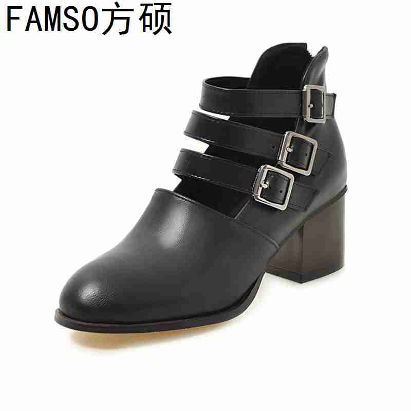 FAMSO 2019 New Pumps For Women Buckle Round Toe thick Heels Round Toe Gladiator Pumps Shoes