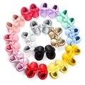 Borlas mocassim sapatos de bebê recém-nascido do bebê prewalkers fundo macio do couro do plutônio 0-18 m
