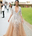 Sexy Neck Celebrity Dresses 2016 New Designers Gatsby Gown Champagne Tulle Lace Appliques Formal Long Sleeve Red Carpet Dress