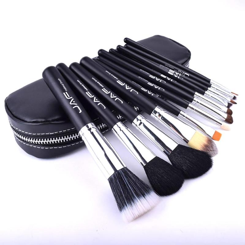 JAF 12pcs Makeup Brushes Set High Quality Soft Nylon Hair Makeup Cosmetic Foundation Powder Eyeshadow Make Up Brush Tool Kit YE2 professional bullet style cosmetic make up foundation soft brush golden white