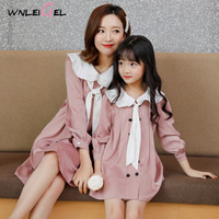 WLG family matching clothes mother and daughter white pink navy style dress mommy and me dresses