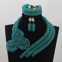 Splendid Teal Green African Women Wedding Beads Jewelry Sets Hot Flower Crystal Necklace Earrings Bracelet Set Free Ship QW524