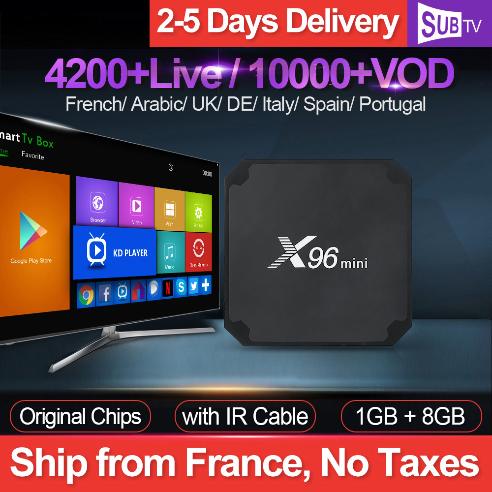 X96 mini 4K IPTV France Subscription Box with 1 Year SUBTV IPTV Android 7 1 S905W