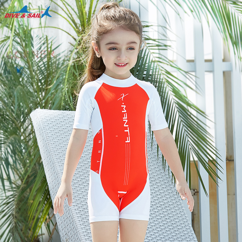 Kids Baby Girl One-Pieces Rash Guard Short Sleeve Swimsuit Sun Protection Bathing Suit
