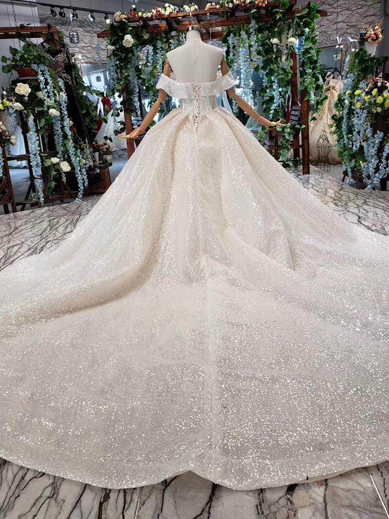 Image 2 - HTL432 shiny wedding dresses with glitter off the shoulder special neck sparckly wedding gowns 2019 new fashion robe de mariee-in Wedding Dresses from Weddings & Events