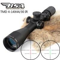 Тактический Охота стрельба прицел BSA TMD 4 14X44E впервые в фокальной плоскости оптический прицел красный зеленый с подсветкой замок прицелы