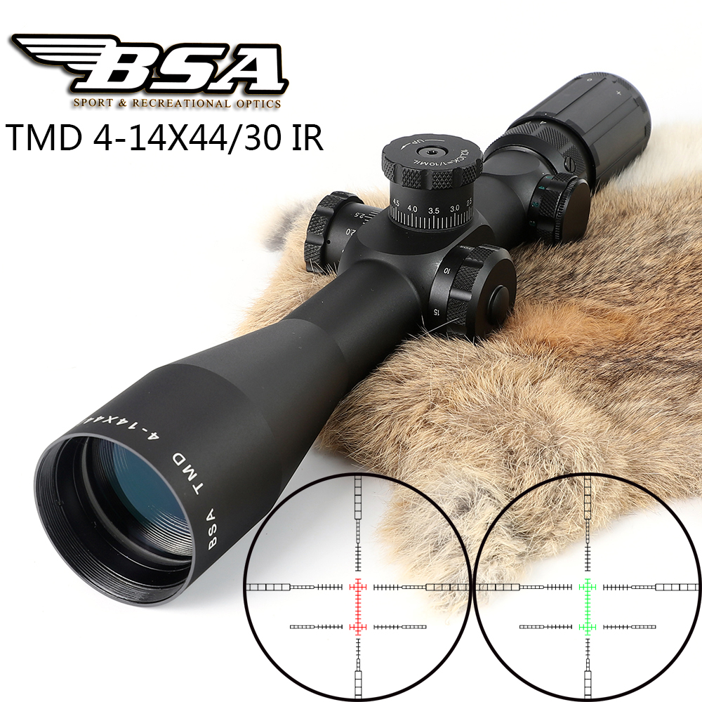 Tactical Hunting Shooting Riflescope BSA TMD 4-14X44 IR First Focal Plane Optical Sight Red Green Illuminated Lock Rifle Scopes
