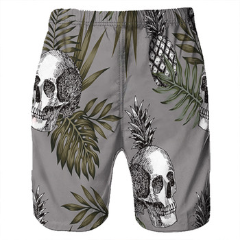 Men's Board Shorts Surfing Trunks 3D Skull Print Patchwork Beach Shorts