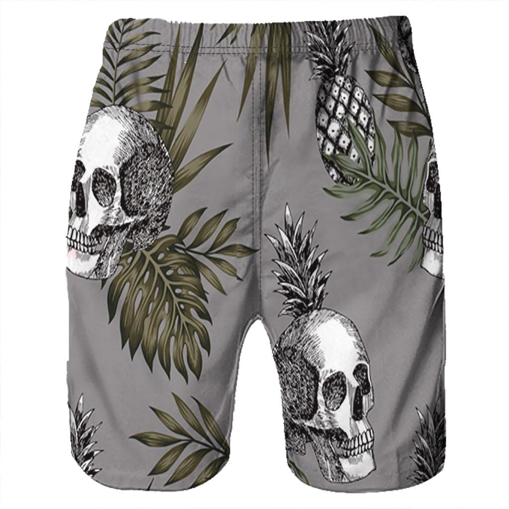 CHAMSGEND   Shorts   Men's   Board     Shorts   Surfing Trunks 3D Skull Printing Patchwork Beach   Shorts   Swimwear Male   Short   Pants 2.Feb.12
