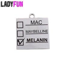 Ladyfun abalorio de acero inoxidable personalizable para MAC, colgante para Mac, maquillaje de melanina, adornos de melanina para fabricación de joyas