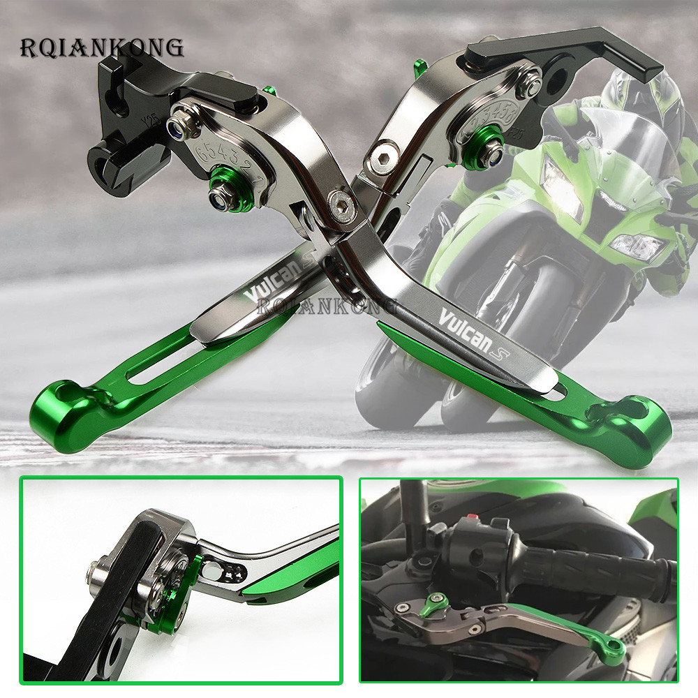 CNC Aluminum Motorcycle Folding Adjustable Brake Clutch Levers For KAWASAKI VULCAN S 650cc 15 18 Z650