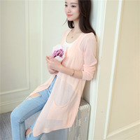 In the 33 summer new long thin dress pocket shawl cardigan sweater F1685
