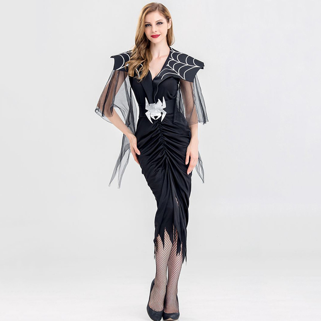 3e0dc2055bf US $11.77 30% OFF|Black Victorian Gothic Vampire Dress Adult Halloween  Outfit Carnival Party Devil Spider Costume Sexy Cosplay Costumes For  Women-in ...