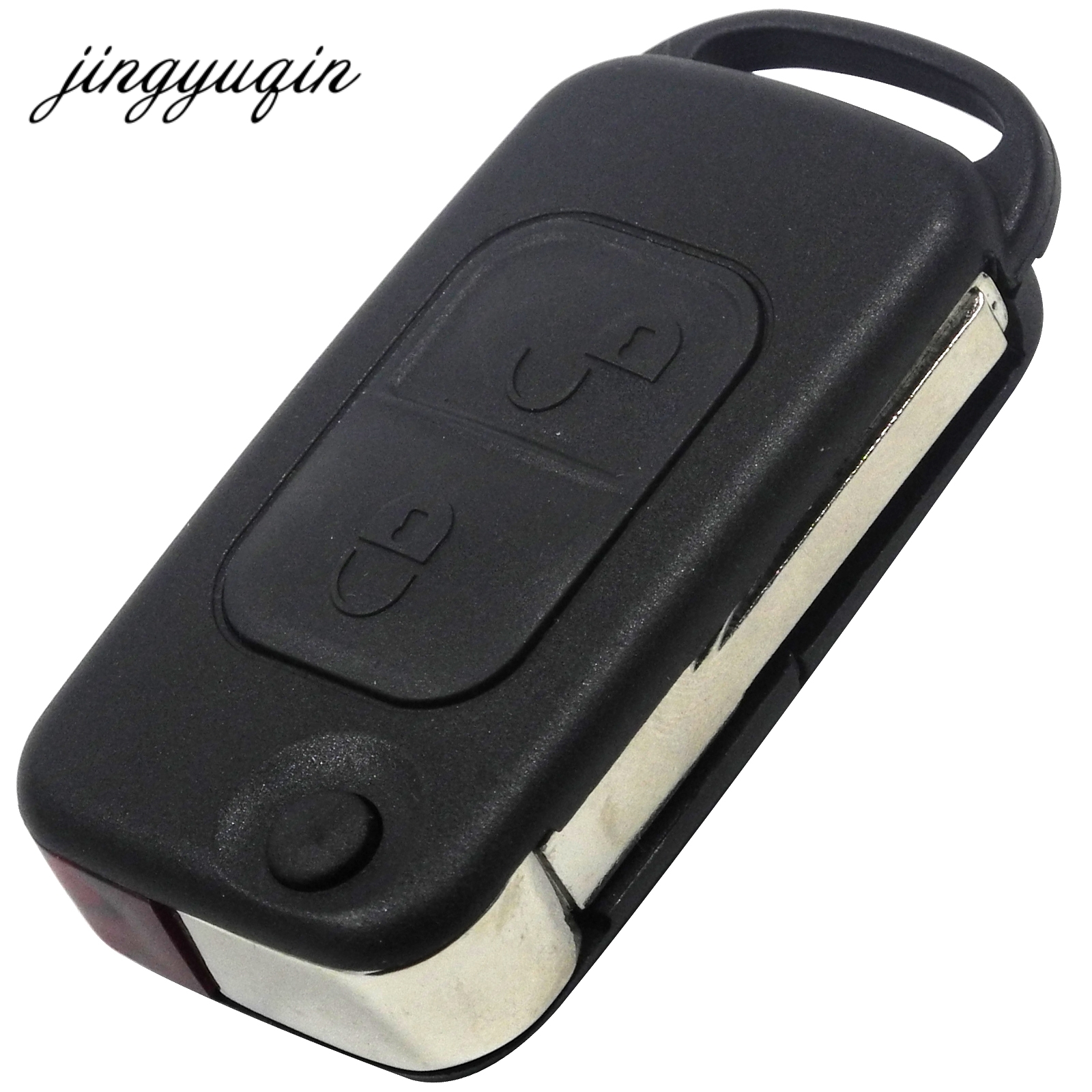 купить jingyuqin Flip Folding Car Case Remote Key Shell For Mercedes Benz SLK E113 A C E S W168 W202 W203 HU64 Blade 1/2/3/4 Button онлайн