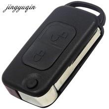 Jingyuqin-funda plegable con tapa para coche carcasa para llave remota para Mercedes Benz SLK E113 A C E S W168 W202 W203 HU64 Blade 1/2/3/4 botón