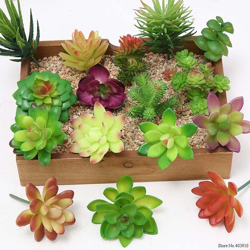 1PCS Mini Artificial Fleshiness Cactus Fake Succulent Plants Real Palm Bonsai Landscape Decorative Flower For Home Table Decor