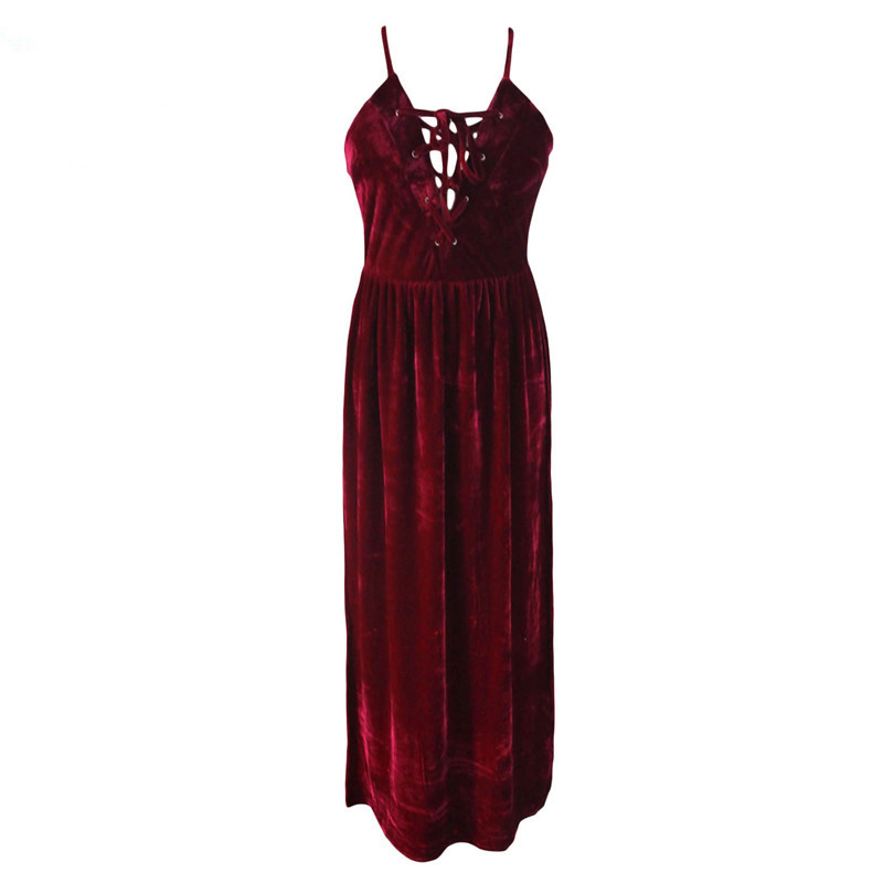 24da370d9685 Sexy Dream Sexy Party Velvet Dresses Summer Clubwear 2017 Burgundy Lace Up  Bust Maxi Romper Dress Vestido Longo de Festa LC64242-in Dresses from  Women s ...