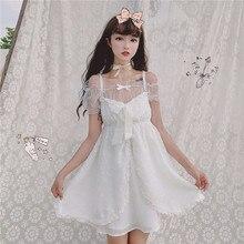 Чисто белое милое женское летнее платье с большим бантом и открытой передней частью, цельное и прозрачное платье с бантом, комплект из 2 предметов