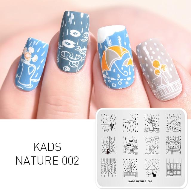 KADS naturaleza 002 diseño gato y el color de la flor sello clavo uñas arte sello esmalte de uñas imagen manicura plantilla máquina de sello