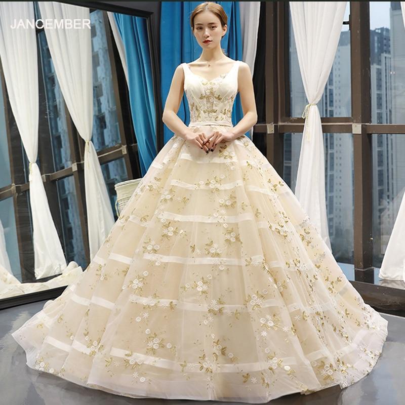 J66608 jancember robes de mariée appliques longueur de plancher avec train col en v à lacets dos robe de bal robes de mariée vestido de noiva
