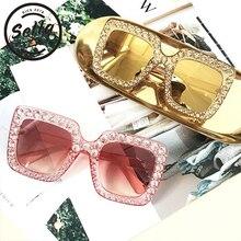 Sella European Style Oversized Square Crystal Decoration Women Sunglasses Luxury Ladies Colorful Shining Sun Glasses T-show