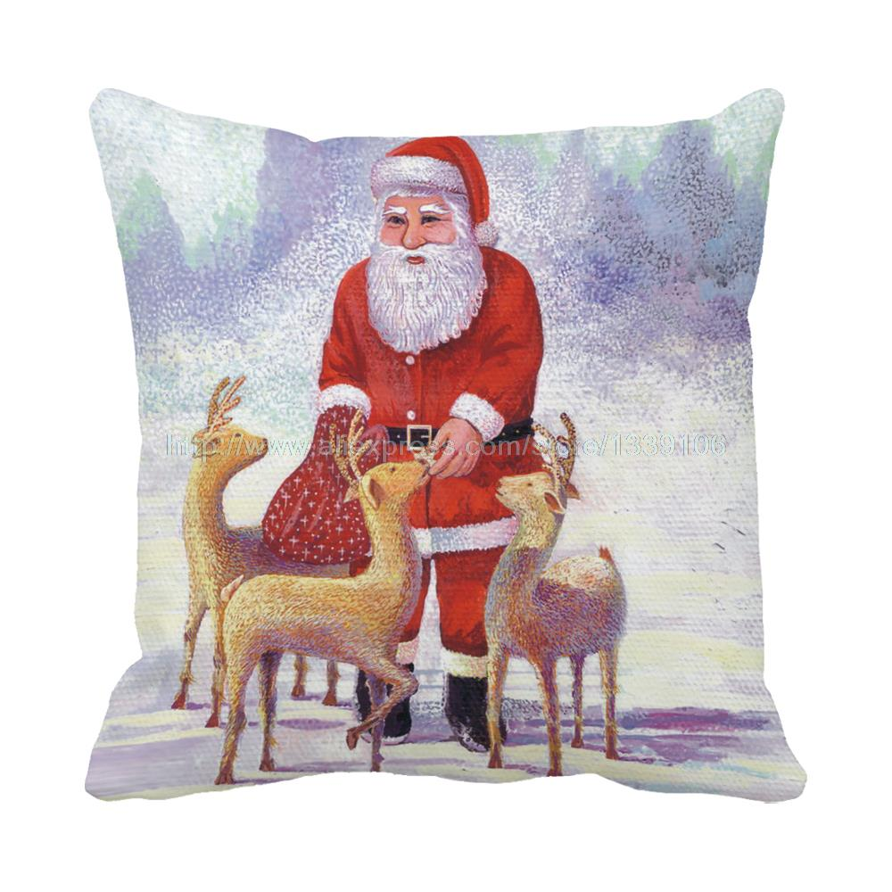 Kind santa with lovely deers print christmas luxury chair bed cushion New Year home decor almofada sofa throw decorative pillows