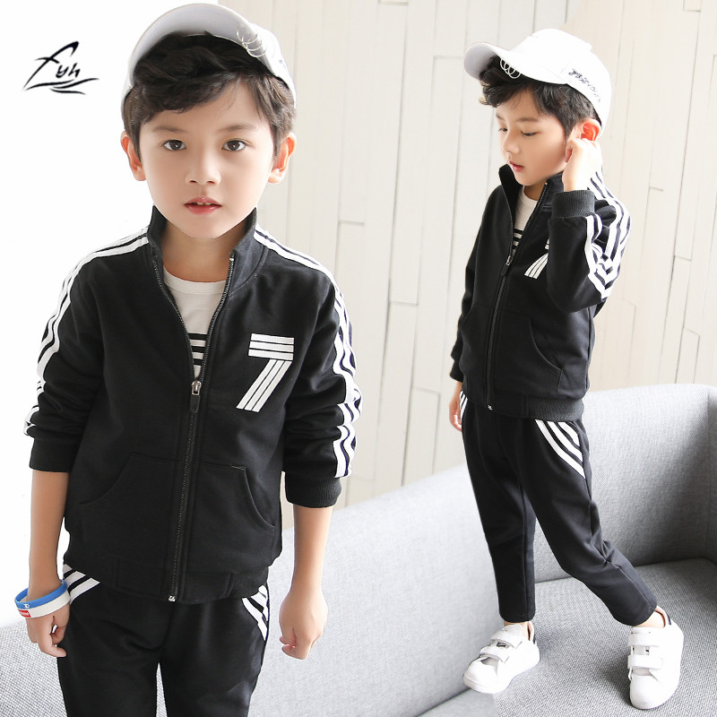 FYH New Kids Clothing School boys 3pcs Spring Autumn Clothing Set Boys Sports Suit Teenagers Casual Suit Boys Coat+Pants+T-shirt