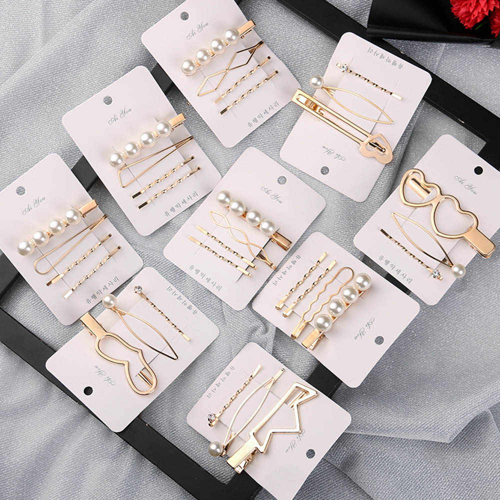 1 Set Metal Minimalist Hair Clip Geometric Irregular Gold Color Hairclips Imitiation Pearl Korea Hairpin Barrettes Hairgrip