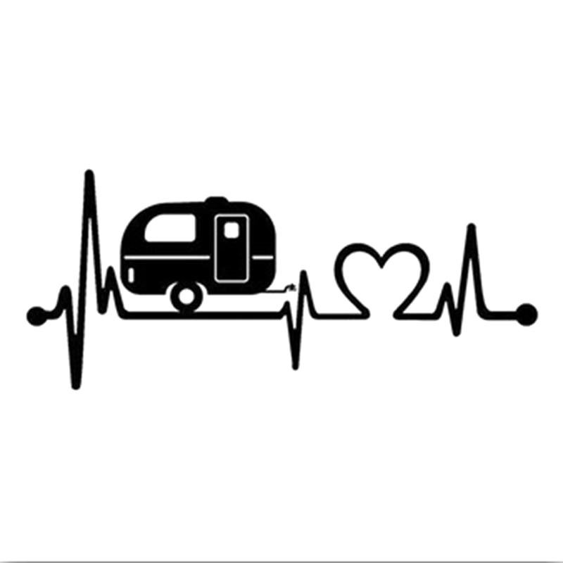 Cartoon Car Sticker Caravan Love Heartbeat Car Sticker Camper Decals Car Body Window Stickers Car Styling