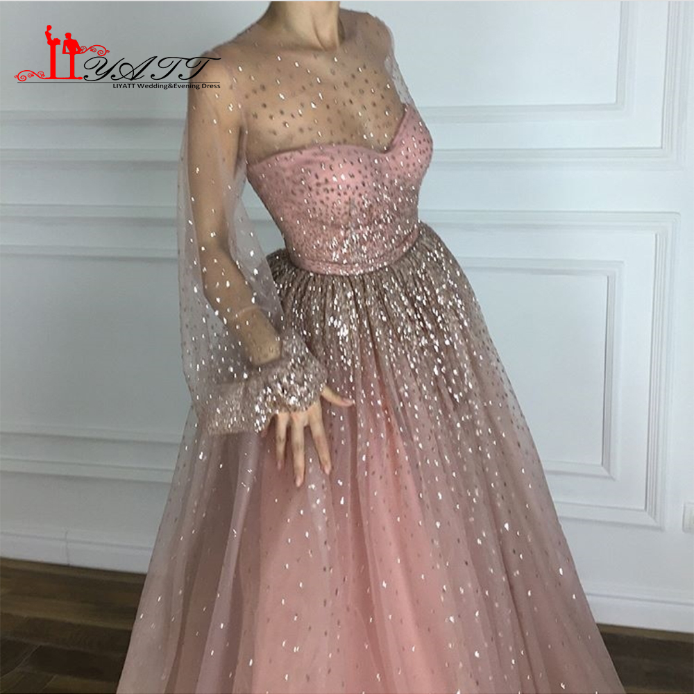 New Arrival 2018 Amazing Dusty Pink Shinny Spaghetti Strap Glitter Vintage  Arabic Formal Long Evening Prom Dresses Custom Made-in Evening Dresses from  ... 1f457db8b258